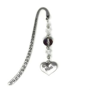 Silver Tone Bookmark - Heart with Bead & Crystals - Mum
